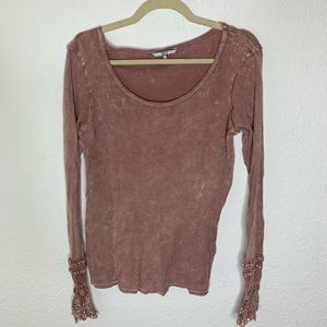 BKE Pink Thermal Lace Top Women's Size Small
